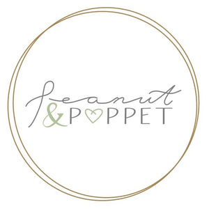 "Peanut and Poppet logo. Gold scribble circles with grey script writing for Peanut and structured writing for Poppet. Green ampersand and heart for the ""O"" in poppet"