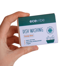 Load image into Gallery viewer, Person holding Ecovibe Handmade Dish Washing Soap Bar - Eco Kitchen - Peanut and Poppet UK
