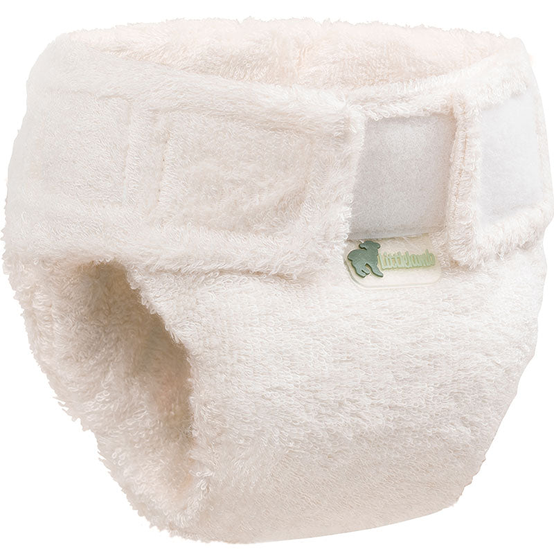 Little Lamb bamboo fitted nappy with velcro waist - size 1 and size 2 night nappies - Peanut and Poppet UK
