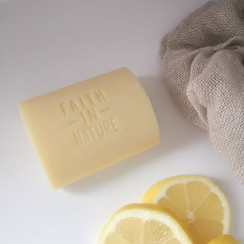 Close up of Faith in Nature Grapefruit Soap Bar (Vegan) - Eco Bathroom - Peanut and Poppet UK