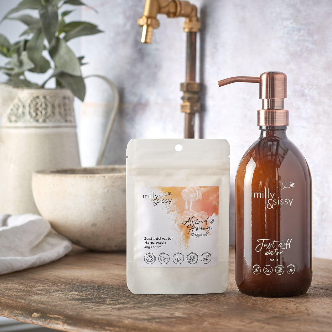 Milly & Sissy almond and honey refill hand wash sachets - eco hand wash - Peanut and Poppet UK