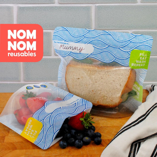 Nom Nom Kids WAVE reusable snack bags in use- Eco Living - Peanut and Poppet UK