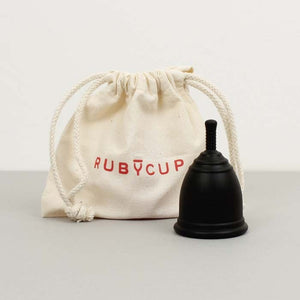 Ruby cup medium in black with bag - eco periods - Peanut and Poppet UK