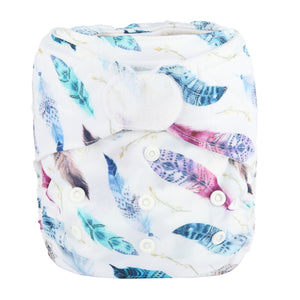 Feather print Sigzagor pocket nappy with hook and loop laundry tabs - cloth nappies - Peanut and Poppet UK