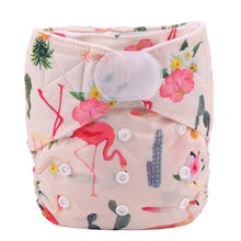 Load image into Gallery viewer, Prickled pink flamingo print Sigzagor pocket nappy with hook and loop laundry tabs - cloth nappies - Peanut and Poppet UK