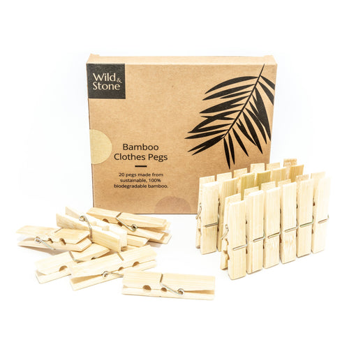 Wild & Stone bamboo clothes pegs - plastic free laundry pegs - Peanut and Poppet UK