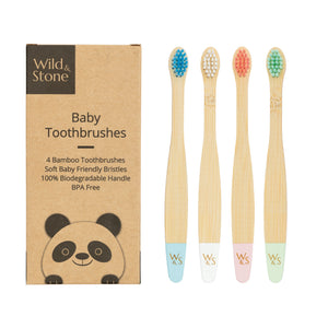 Wild & Stone baby bamboo toothbrushes (blue, white, pink/coral & mint green) 4 pack - eco bathroom - Peanut and Poppet UK