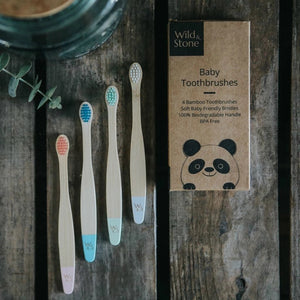 Wild & Stone baby bamboo toothbrush display (blue, white, pink/coral & mint green) 4 pack - eco bathroom - Peanut and Poppet UK
