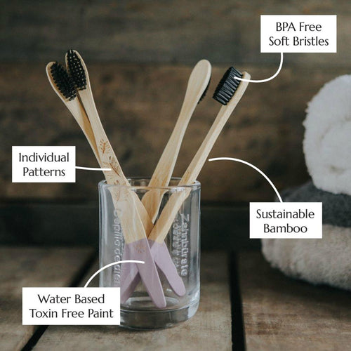 Wild & Stone adult bamboo toothbrushes (soft) 4 pack infographic - eco bathroom - Peanut and Poppet UK