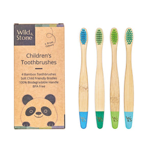 Wild & Stone children's bamboo toothbrushes (aqua blue and green) 4 pack - eco bathroom - Peanut and Poppet UK