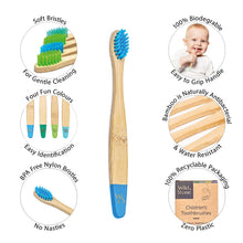 Load image into Gallery viewer, Wild & Stone children's bamboo toothbrush infographic (aqua blue and green) 4 pack - eco bathroom - Peanut and Poppet UK