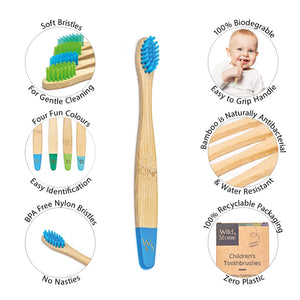 Wild & Stone children's bamboo toothbrush infographic (aqua blue and green) 4 pack - eco bathroom - Peanut and Poppet UK