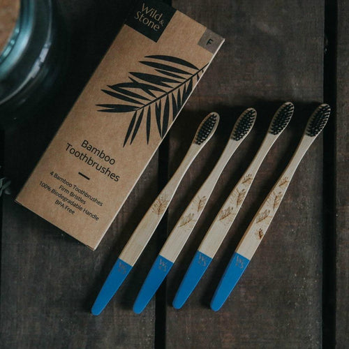 Wild & Stone adult bamboo toothbrushes (firm) 4 pack display - eco bathroom - Peanut and Poppet UK