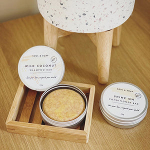 Save Some Green Bamboo Soap Rack with shampoo and conditioner bars - Eco Bathroom - Peanut and Poppet UK