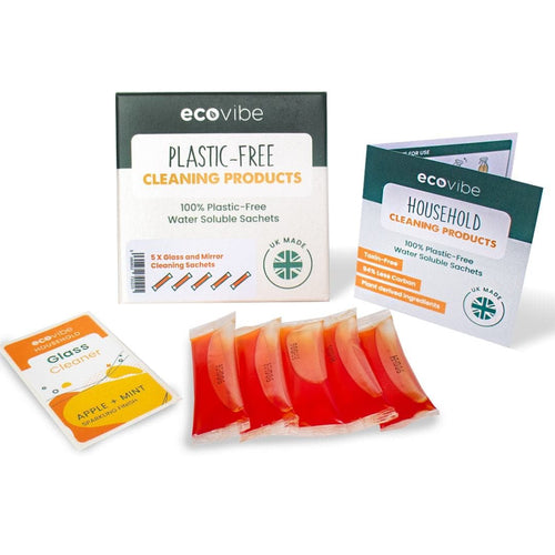 EcoVibe soluble glass and mirror cleaning sachets - plastic free cleaning - Peanut and Poppet UK