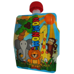 1 Nom Nom Kids reusable animal food pouches - Eco Living - Peanut and Poppet UK