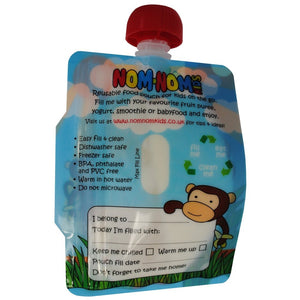 Back of Nom Nom Kids reusable animal food pouches - Eco Living - Peanut and Poppet UK