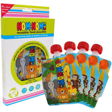 Load image into Gallery viewer, Nom Nom Kids reusable animal food pouches - Eco Living - Peanut and Poppet UK
