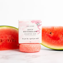 Load image into Gallery viewer, Soul and Soap Juicy watermelon shampoo bar - Eco living shampoo - Peanut and Poppet UK