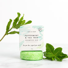 Load image into Gallery viewer, Soul and Soap peppermint and tea tree shampoo bar - Eco living shampoo - Peanut and Poppet UK