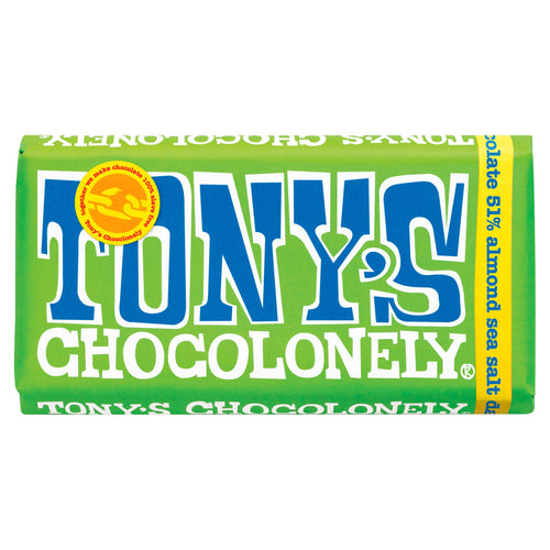 Tony's Chocolonely dark chocolate almond sea salt big bar - Fairtrade and slave free chocolate - Peanut and Poppet UK