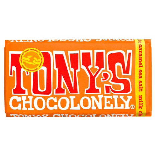 Tony's Chocolonely milk chocolate and caramel sea salt big bar - Fairtrade and slave free chocolate - Peanut and Poppet UK
