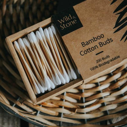 Wild and Stone bamboo cotton buds - biodegradable and vegan - eco living - Peanut and Poppet UK