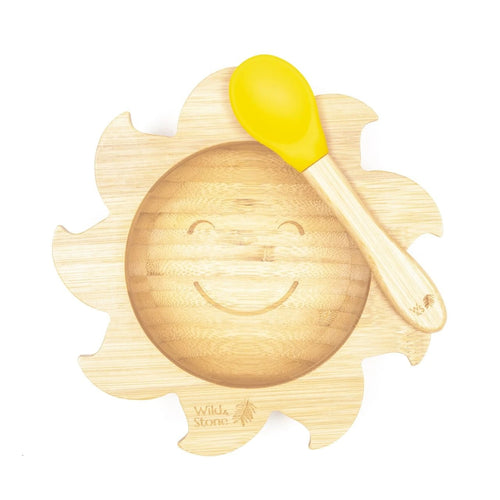Wild & Stone sunshine yellow bamboo weaning bow and spoon set with suction cup - Eco Feeding - Peanut and Poppet UK