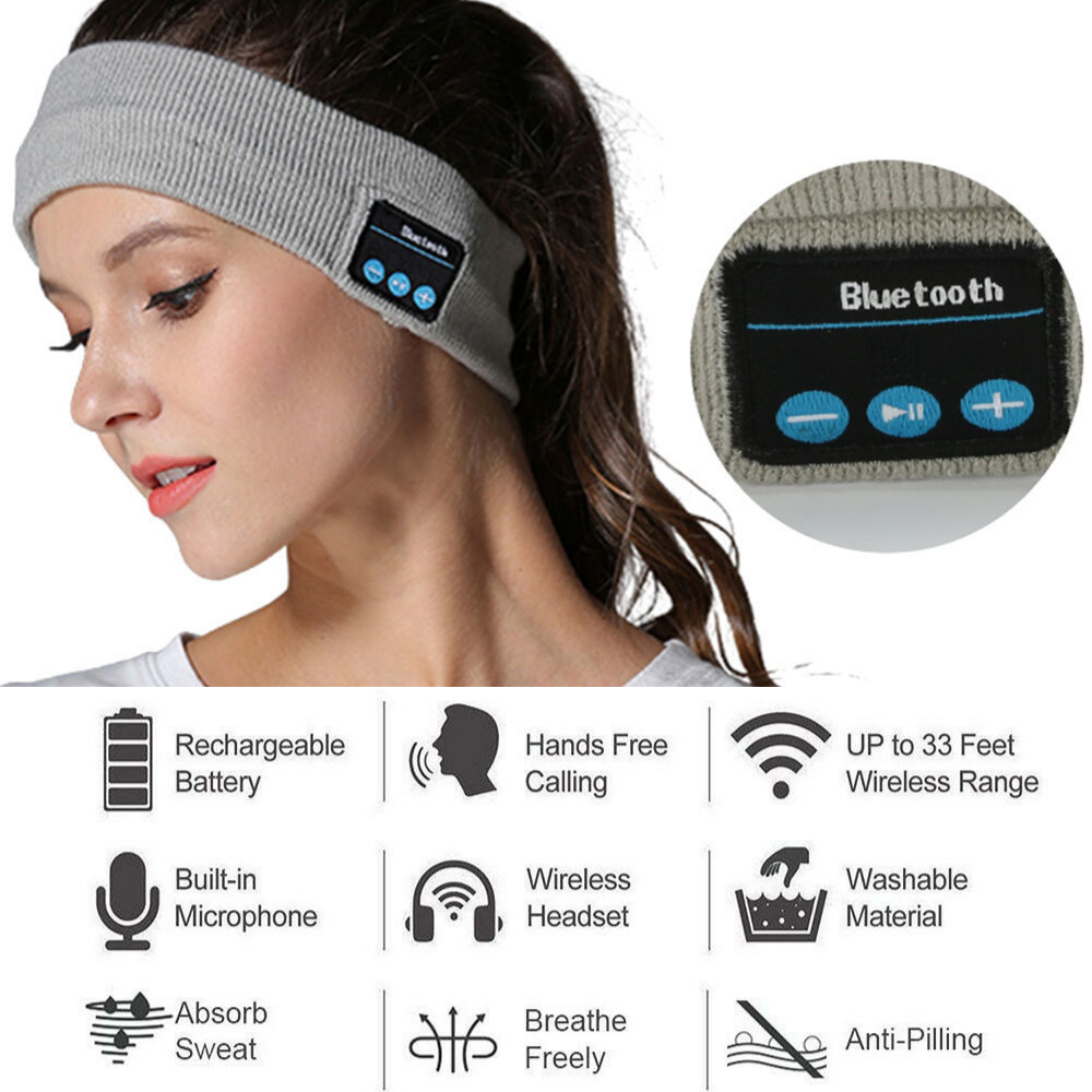 Wireless Bluetooth Headband With Built In Mic and Stereo Speakers