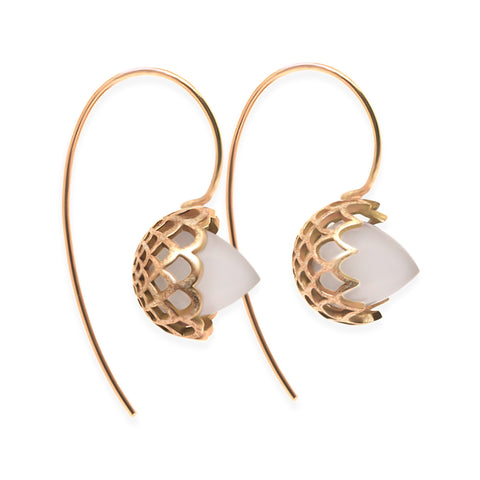 Milky Quartz Scallop & Spike Drop Earrings in Solid 18k Rose Gold