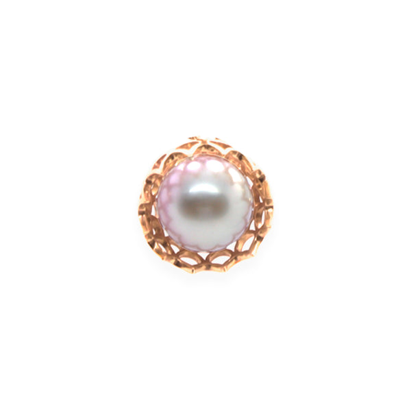 Spike Pearl Pendant in Solid 18k Rose Gold and White Pearl