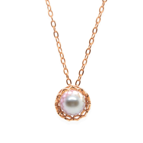 Spike Pearl Pendant Necklace in Solid 18k Rose Gold and Lavender Pearl
