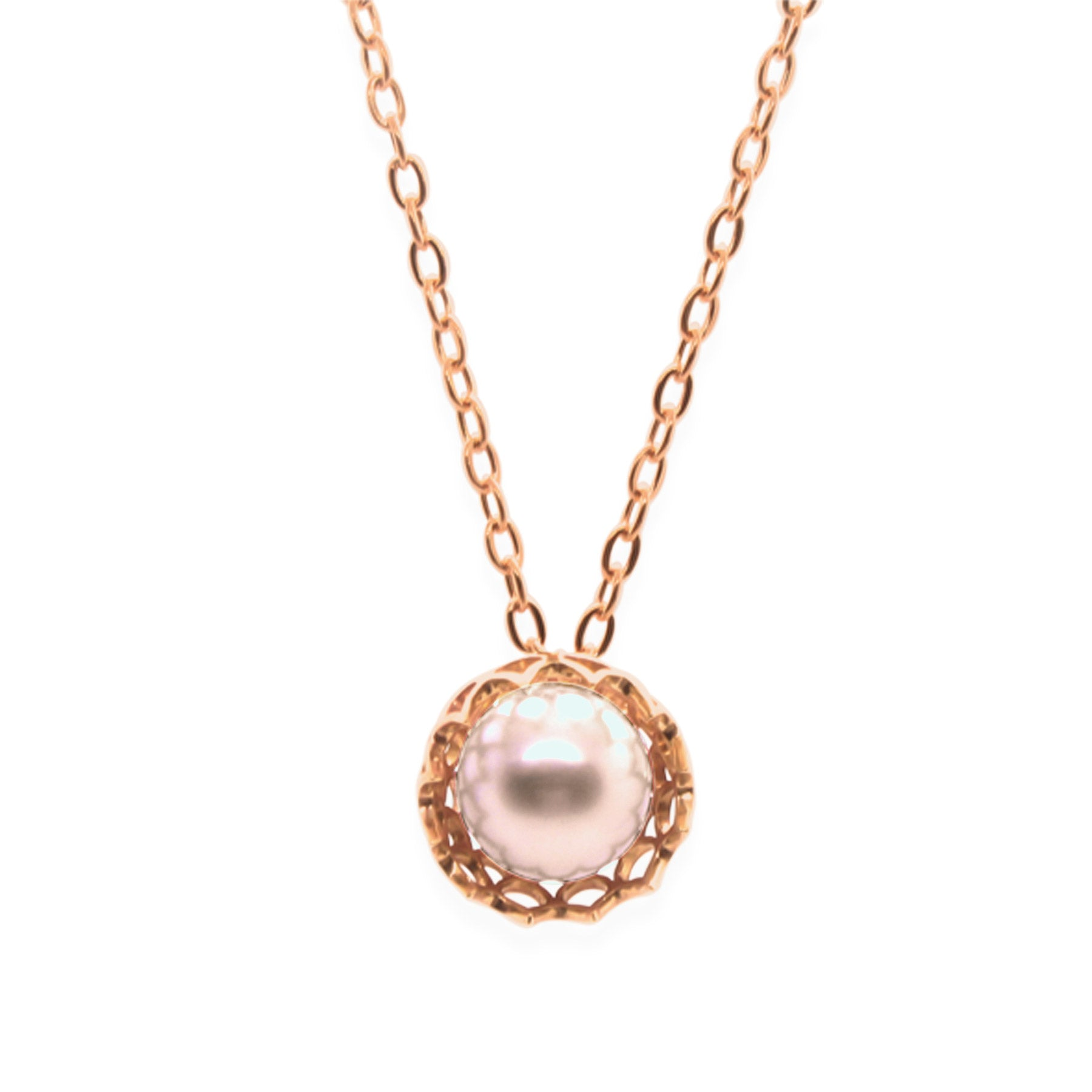Spike Pearl Pendant Necklace in Solid 18k Rose Gold and Pink Pearl