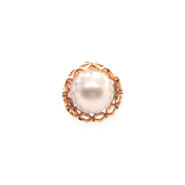 Spike Pearl Pendant in Solid 18k Yellow Gold and White Pearl