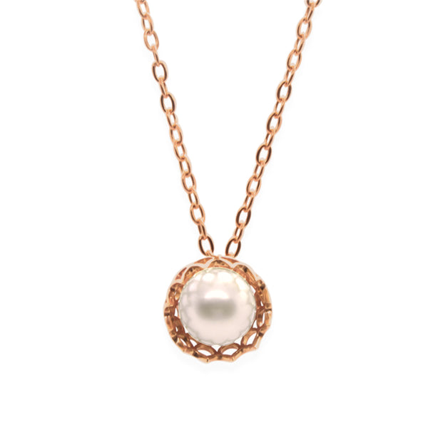 Spike Pearl Pendant Necklace in Solid 18k Yellow Gold and Lavender Pearl