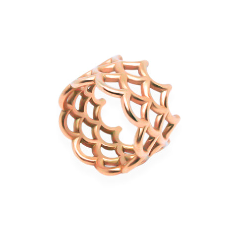 Broad Scalloped Ring in Solid 18k Rose Gold