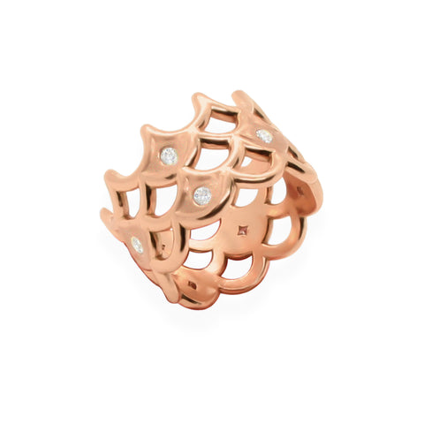 Broad Diamond Scalloped Ring in Solid 18k Rose Gold