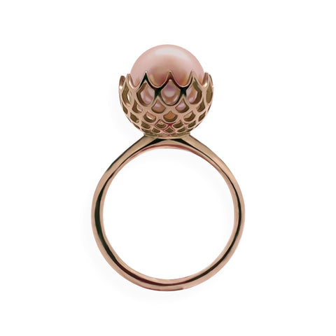 Pearl Spike Cocktail Ring in Solid 18k Rose Gold and Pink Pearl