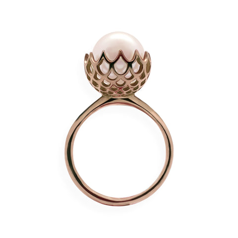 Pearl Spike Cocktail Ring in Solid 18k Rose Gold and White Pearl