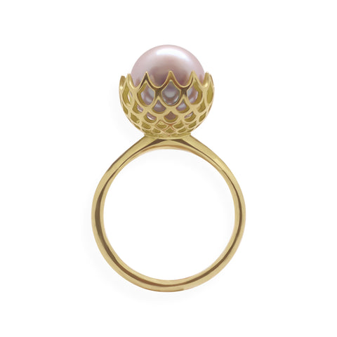 Pearl Spike Cocktail Ring in Solid 18k Yellow Gold and Lavender Pearl