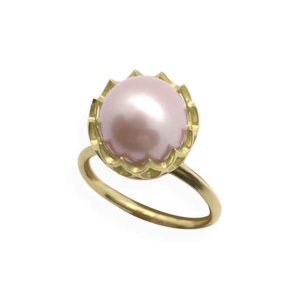 Pearl Spike Cocktail Ring in Solid 18k Yellow Gold and White Pearl