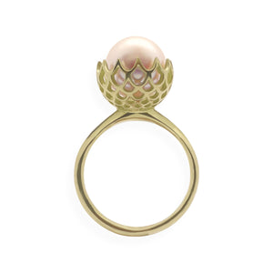 Pearl Spike Cocktail Ring in Solid 18k Yellow Gold and Pink Pearl
