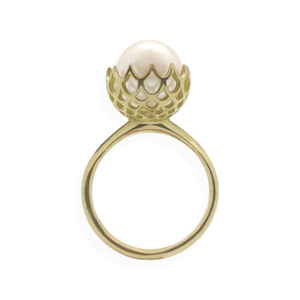 Pearl Spike Cocktail Ring in Solid 18k Rose Gold and Lavender Pearl