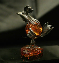 Amber Silver Rooster Carving