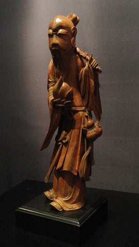 Wood Carving Chinese Figure Of  God of Longevity