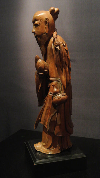 Wood carving chinese figure of god longevity edith s