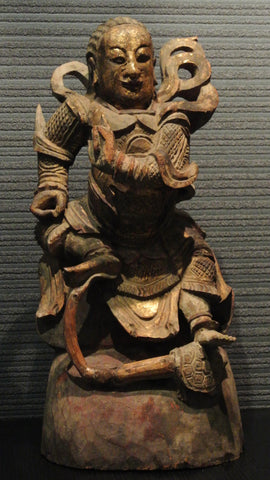 Wood Carving Chinese Guardian Straddled Over Snake & Tortoise