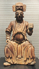 Wood Carving Figures Chinese Official Seated