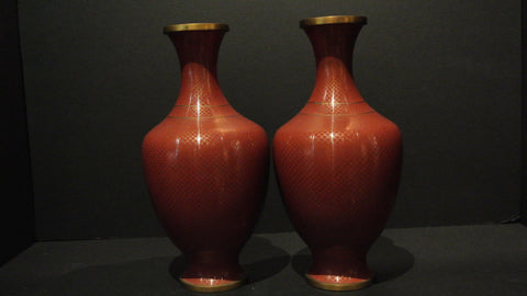 Cloisonne Vases Red Color