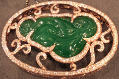 Jade Natural Green Jadeite Ru Yi Pendant Diamonds 18K Rose Gold
